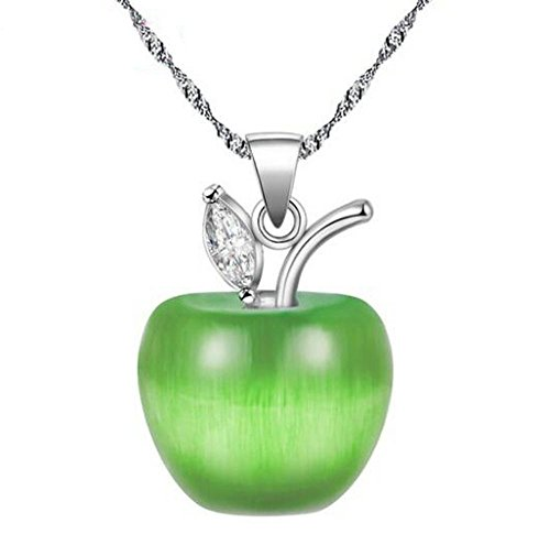 Uloveido Colorful 3D Apple Shaped Pendant Necklace, Light Green Cubic Zirconia Jewellery For Women Gift Ideas (8 colors to choose) YL007-Green