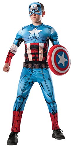 [Child's Avengers 2 Age of Ultron Deluxe Captain America Costume with Muscle Chest (Child Medium)] (Kids Deluxe Ultron Costumes)