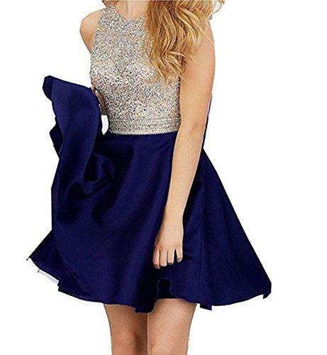 (TANGFUTI Beading Short Prom Dresses Open Back Satin Homecoming Dresses 107RB-US12 Royal Blue)