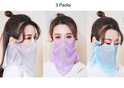 Quickly Dry Summer Masks for Women Bling Thin Breathable Moisture-wicking Mesh Mouth Masks with Neck Cover Outdoor Cycling Travel Anti-uv Sun Block Half Face Mask Dustproof Pollen Germs Masks by Greenery-GRE