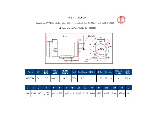 1hp TEFC 1750 RPM with Foot Hallmark Industries MD0510A DC Motor 90 VDC 56C