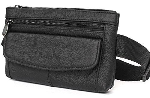 Mens Leather Waist Fanny Pack Bag Travel Hip Lumbar Cell Phone Pocket Womens (Black (Black Cigarette Money Case)