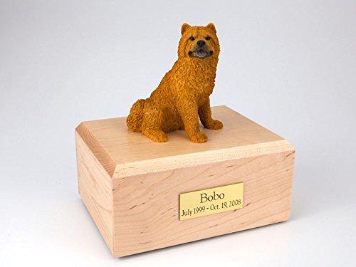 Chow Figurine - GENUINE North American Hardwood and Chow Chow Figurine Urn Large