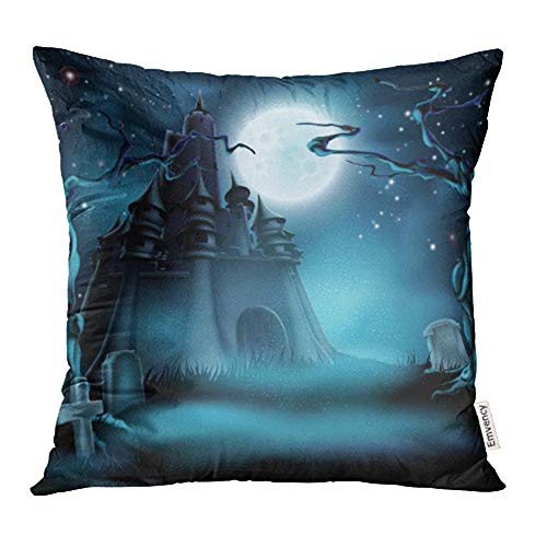 Emvency Decorative Throw Pillow Case Cushion Cover Halloween Castle Grave Yard with Spooky Haunted Trees and Graves and Full Moon 20x20 Inch Cases Square Pillowcases Covers Two Sides Print -