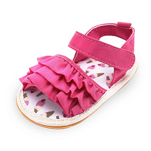 BiBeGoi Baby Girls Flowers Leather Summer Sandals Princess Dress Outdoor Shoe Infant First Walkers Crib Shoes 0-18 Months