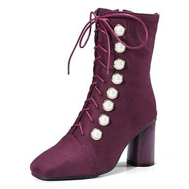 Heart&M Damen Schuhe Kunstleder Herbst Winter Modische Stiefel Stiefel Blockabsatz Spitze Zehe Booties Stiefeletten Schnürsenkel Für Normal purple