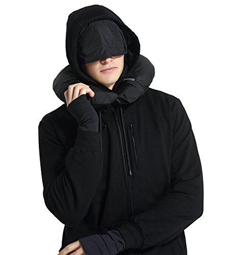 XY37 Men Travel Jacket Hoodie 10 Pockets Travel Pillow Eye Mask Face Mask Gloves (Small, - Budget Best Sunglasses For Men