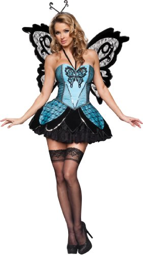 InCharacter Costumes Women's Beautiful Butterfly Costume, Black/Blue, Small