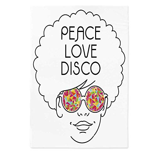60' Rectangle Glass - 70s Party Decorations Printed Tablecloth,Drawing of a Girl with Afro Hair and Kaleidoscopic Glasses Hippie Decorative for Rectangle Table Kitchen Dinning Party,60''W X 84''L