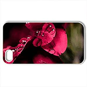 Red - Case Cover for iPhone 4 and 4s (Flowers Series, Watercolor style, White)
