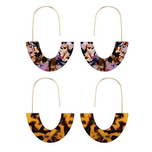 Acrylic Hoop Earrings Bohemian Resin Natural Stone Stud Earrings for Women (Colorful/Brown)