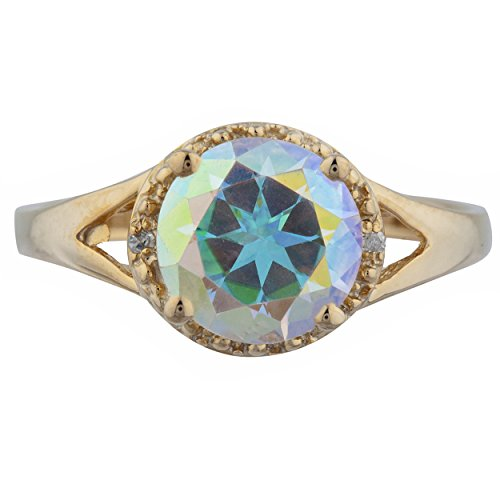 2 Ct Natural Mercury Mist Mystic Topaz & Diamond Halo Design Round Ring 14Kt Yellow Gold Rose Gold Silver
