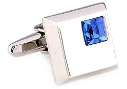 MRCUFF Blue Square Crystals Pair Cufflinks in a Presentation Gift Box & Polishing Cloth