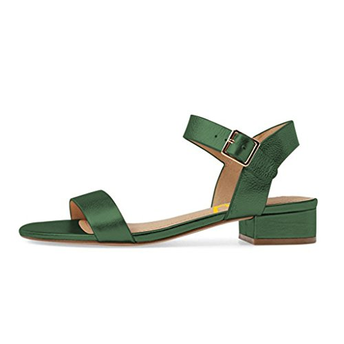 FSJ Women Summer Casual Low Stacked Block Heels Sandals Open Toe Buckled Strap Shoes Size 4-15 US Green hV8lIP1ke