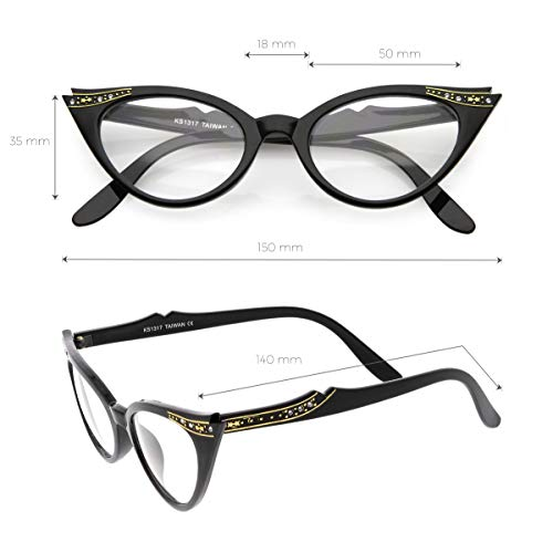 8aee3af816ec Vintage Cateyes 80s Inspired Fashion Clear Lens Cat Eye Glasses with  Rhinestones (Black-Fade