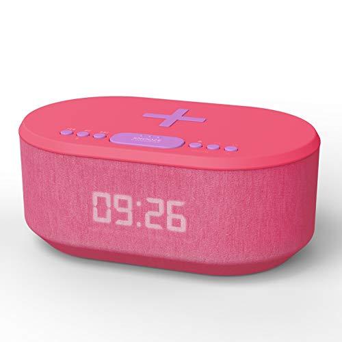 Dawn Radio Alarm Clock with USB Charger, Wireless Charging, Dual Alarm, Bluetooth, LED Display (Fuchsia)