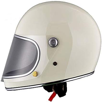 Amazon.es: Casco de Moto Estilo japonés Full Face Rider Fiberglass Retro con Lente Cascos de Seguridad-Blanco, L