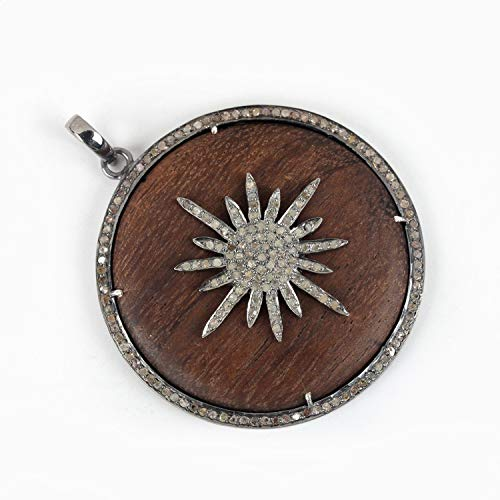1.38 Ct Natural Diamond Pave Starburst Wooden Pendant Solid 925 Sterling Silver Handmade Vintage Style Jewelry Christmas - 1.38 Natural Ct