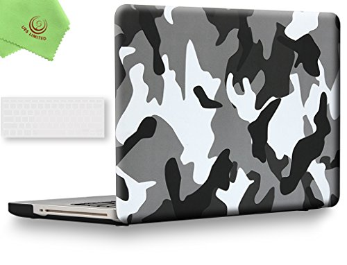 UESWILL 2in1 Rubberized Unique Pattern Solid Hard Shell Case with Clear Keyboard Cover for MacBook Pro 13