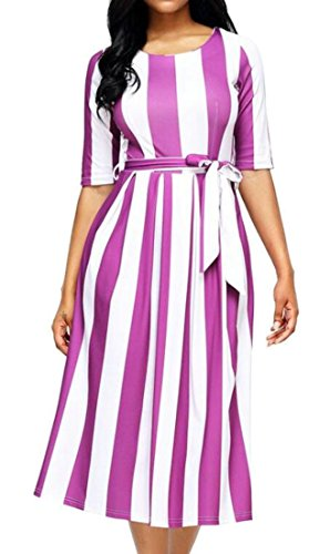 Midi Sleeve Striped Swing Half Women BLTR Crewneck Purple Belted Dress R07xEtw