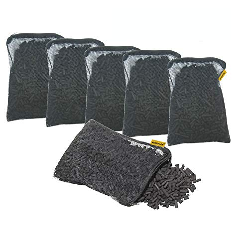 Aquapapa 6 lbs Activated Carbon Charcoal Pellets in 6 Mesh Bags for Aquarium Fish Tank Koi Reef Filters