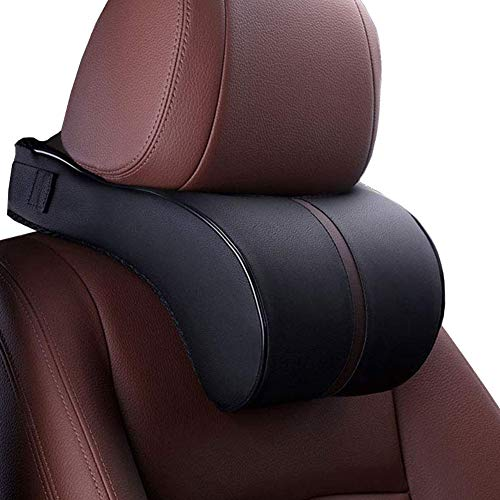 HomDSim Car Seat Neck Support Pillow,PU Soft Leather + Memory Foam,Head Support Pillow Cushion Pad for Driving Headrest Relax,with Adjustable ()