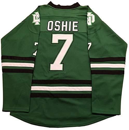 afaf6e5bf8b Kooy TJ Oshie #7 T.J. North Dakota Sioux Green Hockey Jersey Men (Green,