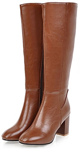 Chunky Side Zipper Women's Calf Retro Mid Boots Brown Round Heeled Mid Toe Easemax FCqUU