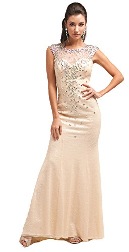 Meier Women's Beaded Sheer Neck Allover Sequin Formal Prom Dress-4