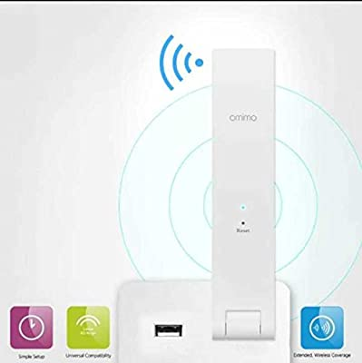 Omimo Wifi Repeater RP-R1 300M Wifi Range Extender Connects to Router Wirelessly (Supports IEEE 802.11 b/g/n Standards with USB 2.0 Interface ) White