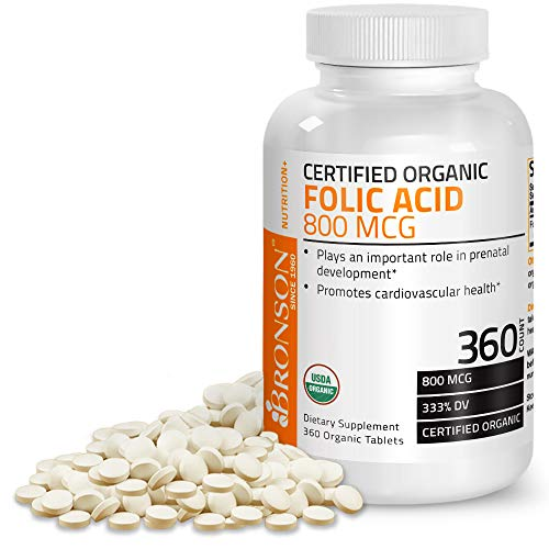 Bronson Organic Folic Acid 800 mcg 360 Tablets (Supplements Acid Folic)