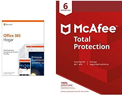 Microsoft Office 365 Hogar + McAfee Total Protection 6 Dispositivo: Amazon.es: Software