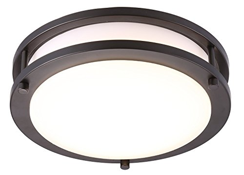 Cloudy Bay LED Flush Mount Ceiling Light,10 inch,17W(120W Equivalent) Dimmable 1150lm,5000K Day Light,Oil Rubbed Bronze Round Lighting Fixture for Kitchen,Hallway,Bathroom,Stairwell ()