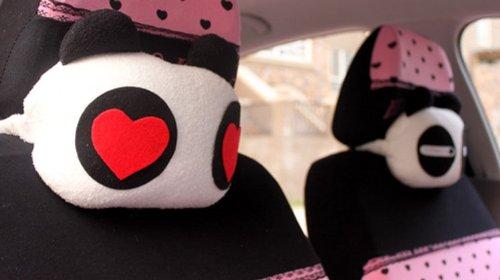 2pcs Love Couple Love Me Panda Auto Car Head Shoulder Neck Safety Pillow Cushion