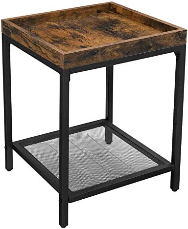 VASAGLE INDESTIC Side Table, Small Sofa Table, End Table, Nightstand with Mesh Shelf, Tray, for Living Room, Simple Structure, Stable, Industrial Style, Rustic Brown and Black ULET36BX