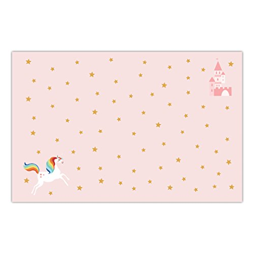 Little Girl's Birthday Paper Placemats 25 Pack Easy Cleanup Disposable Rainbow Unicorn Pink Table Setting Child Daughter Happy Birthday Children Parties Kids Event 17