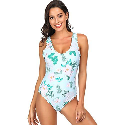 Advoult Bathing Suit for Women Monokini Swimwear Floral Print One Piece Swimsuit Light Blue