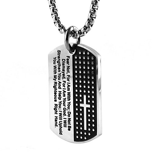 HZMAN Stainless Steel Men's Carved Cross and Lord's Prayer Dog Tag Pendant Necklace (Silver)