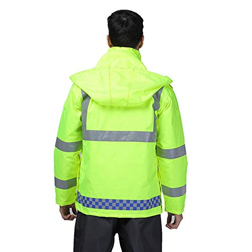 GSHWJS- trash can Reflective Cotton Jacket Winter Traffic Duty Warning Safety Jacket Detachable Cotton Suit, Green Reflective Vests (Size : S) by GSHWJS- trash can (Image #3)
