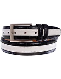 PGA TOUR Men's Leather Stripe Textured Belt with Silver Tone Buckle