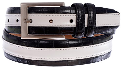 [PGA TOUR Men's Croc Embossed Leather Stripe Belt with Silver Tone Buckle (Black, 34)] (Silver Tone Buckle)