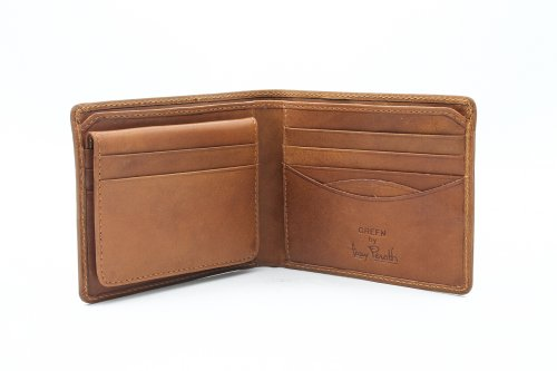 Double Gusset Flap Business Case - Mens Leather Bifold Wallet with Removable Passcase ID Window Flap Multi Credit Card Slots Organizer and Double Currency Divider Gusset made in Real Italian Cowhide Leather by Tony Perotti