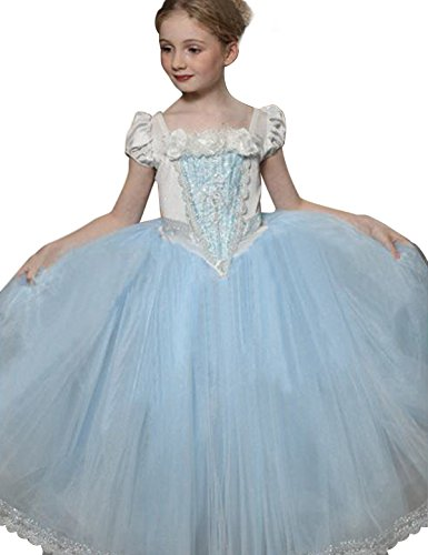 NNJXD Girl Multilayer Tutu Lace Party Two-piece Dress Size 7-8 Years Blue (Christmas Pageant Dresses)