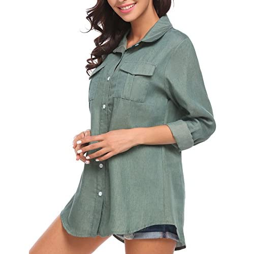 ALAPUSA Mens Casual Slim Top Blouse Turn Down Collar Polo Shirt