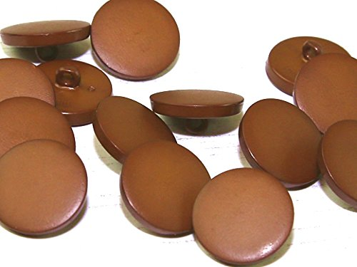 - Dill Round Faux Leather Effect Plastic Buttons Tan Brown - per button