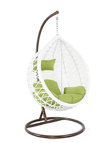 Sedia a dondolo sospesa in rattan per interno e esterno con cuscino ...