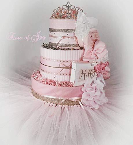 Pink & Gold Baby Blanket Diaper Cake Tiara Tutu Hair Bows Baby Girl Baby Shower Newborn Baby Onesie Gift