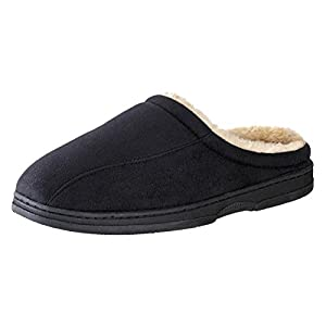 Urban Fox Mens House Slippers for Men – Micro Suede – Thickly Padded – Faux Fur Lining – Comfortable House Shoes Men's Slippers