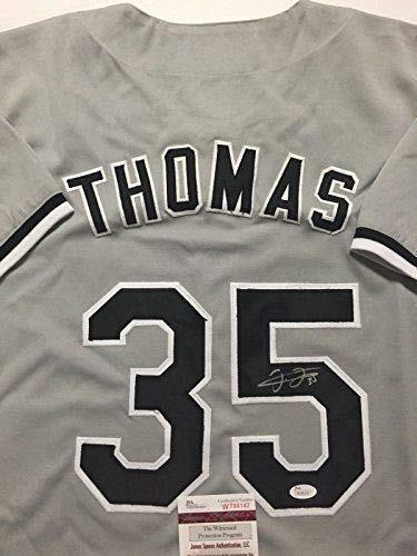 finest selection a356c 387c4 Autographed/Signed Frank Thomas Chicago Grey Baseball Jersey ...