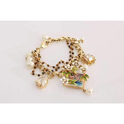 Dolce & Gabbana - Gold Brass Crystal Portofino Italy Statement Bracelet